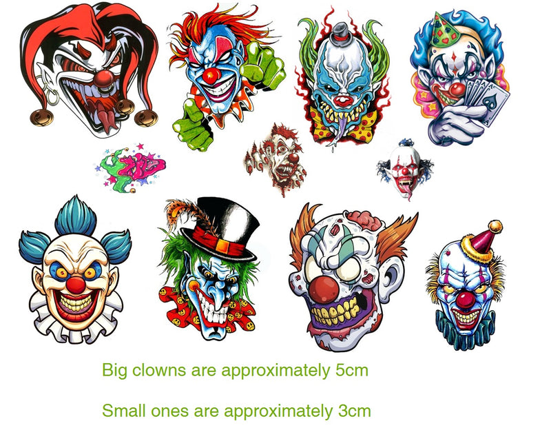 Clown Evil   Temporary Tattoos
