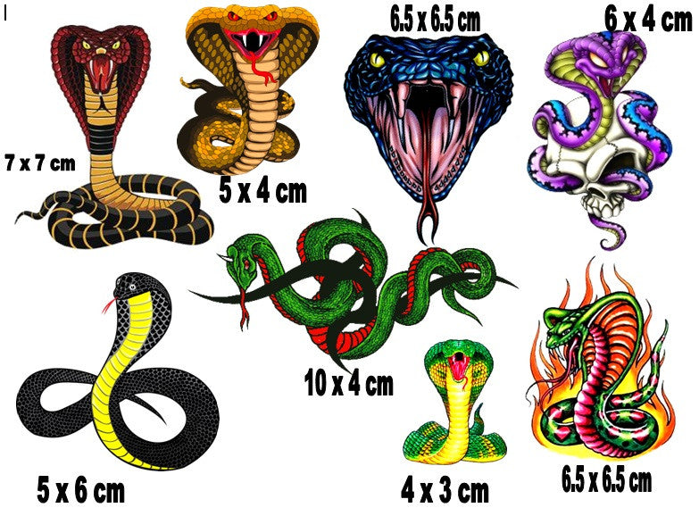 Cobra Snake Temporary Tattoos