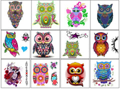 Colourful Owl Temporary Tattoo's