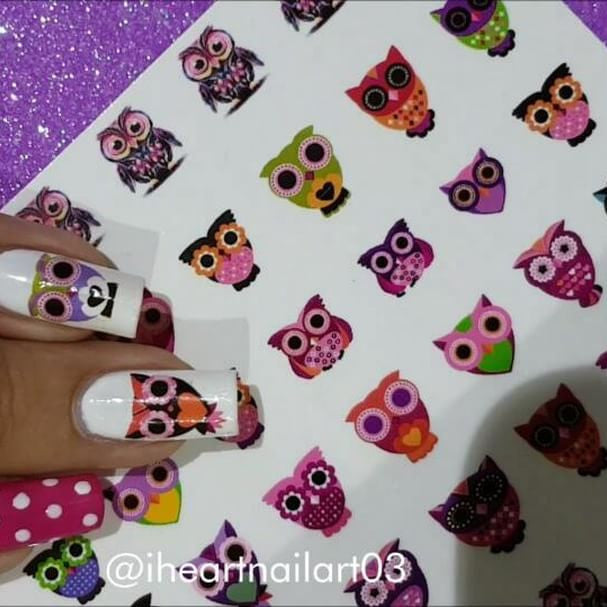 Colourful Owl Nail Art