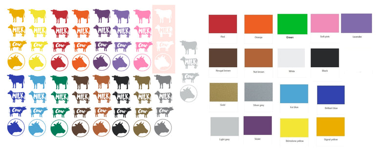 Cow Calf  Vinyl Stickers ( Multiple colours to choose from )