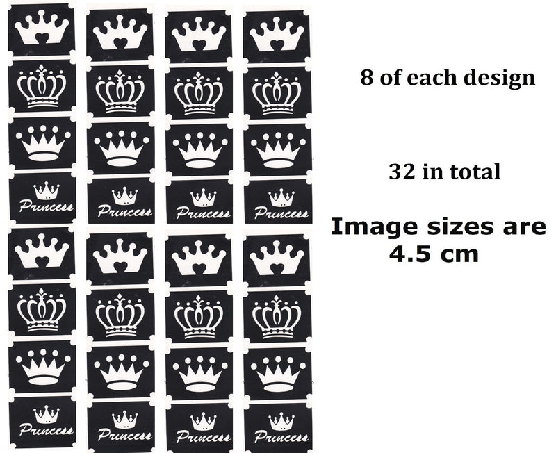 Crown Tattoo Stencils pack of 32