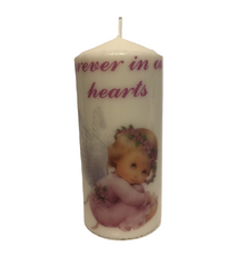 Forever in our Hearts candle ( Cream )