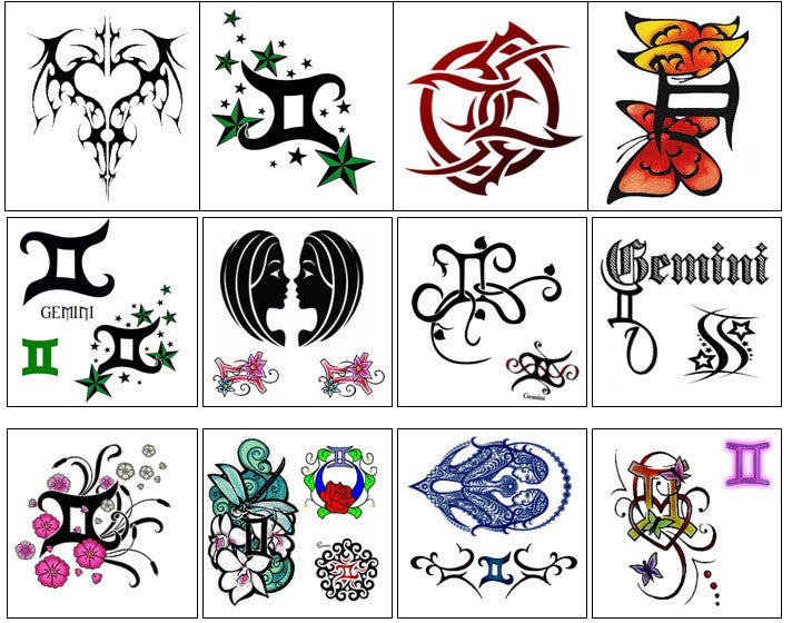 Gemini Temporary Tattoos