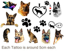 German Shepherd Alsatian  Temporary Tattoos