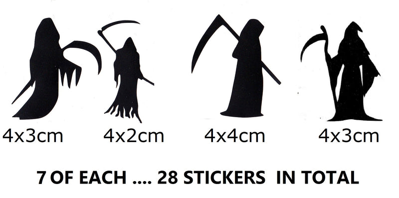 Grim Reaper Halloween Vinyl Stickers ( Multiple colours to choose from )