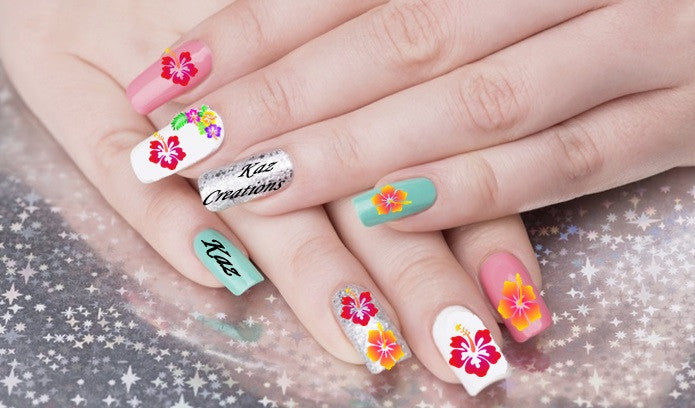 Hibiscus Flower Nail Art