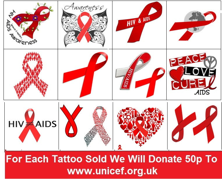 HIV and Aids Awareness Temporary Tattoos