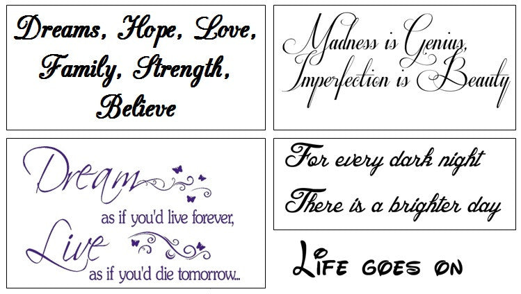 Inspirational Quotes Temporary Tattoos
