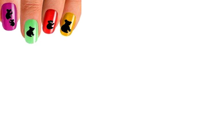 Koala ( Black ) Nail Stickers