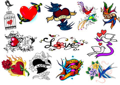 Lovebirds Temporary Tattoos