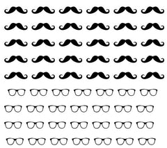 Moustache and glasses Nail Art
