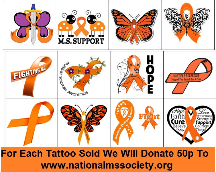 Multiple Sclerosis M.S Awareness Temporary Tattoos