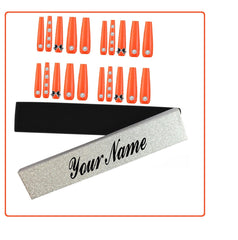 Orange Gloss Personalised boxed 20  Acrylic Coffin Ballerina press on nails With Rhinestones and Bow