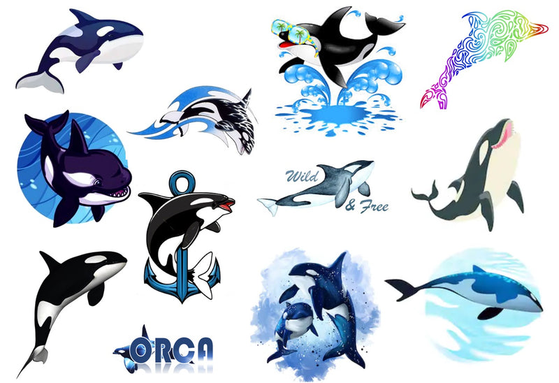 Orca Killer Whale  Temporary Tattoos