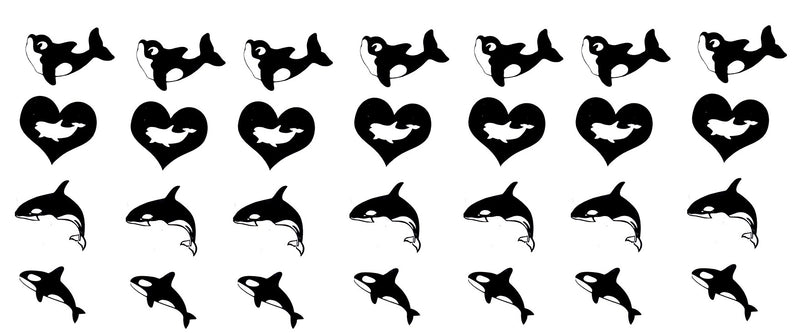 Orca Killer Whale  Vinyl Stickers ( Multiple colours to choose from )