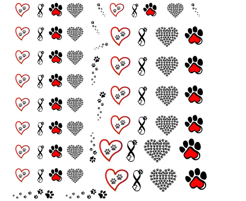 Paw Prints Nail Art Decals C2