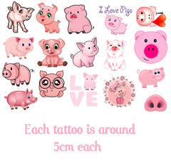 Pig Temporary Tattoos