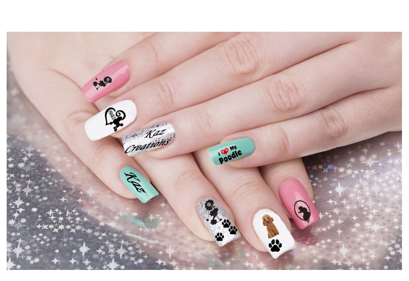 Poodle  Nail Art Decals