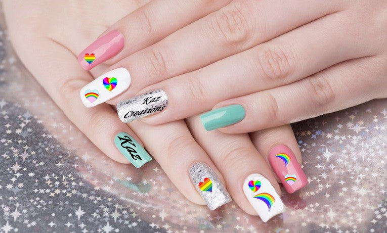 Rainbow Heart Nail Art