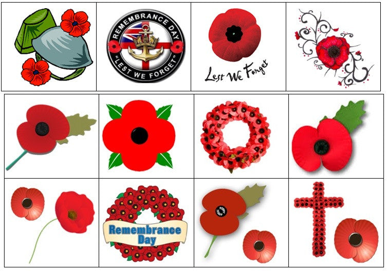 Remembrance Day Poppy Temporary Tattoos Kaz Creations