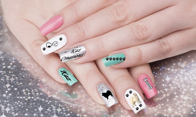 Samoyed Dog Nail Art