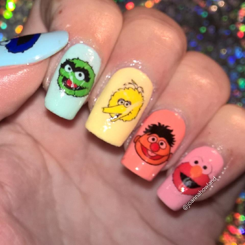 Elmo And Cookie Monster Nail Art Kaz Creations