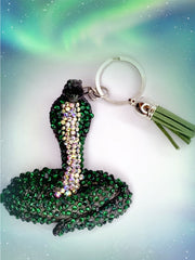 Snake Cobra  Keyring  Green Diamante