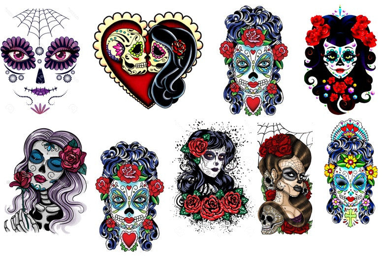 Sugar Skull  Day of the Dead  Lady Temporary Tattoos
