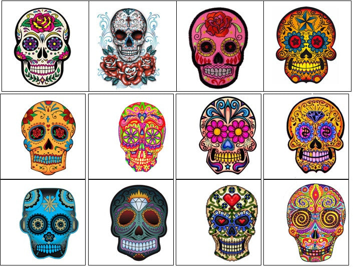 Sugar Skull  Day of the Dead Temporary Tattoos