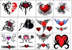 Tribal Heart Temporary Tattoos