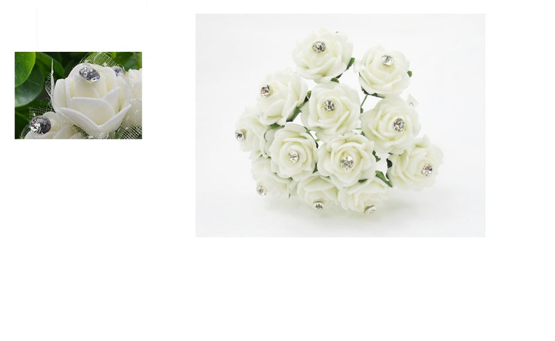 White Rose with Diamante and Filled with Crystals in a Bauble  ( Choose your own colours of Crystal )