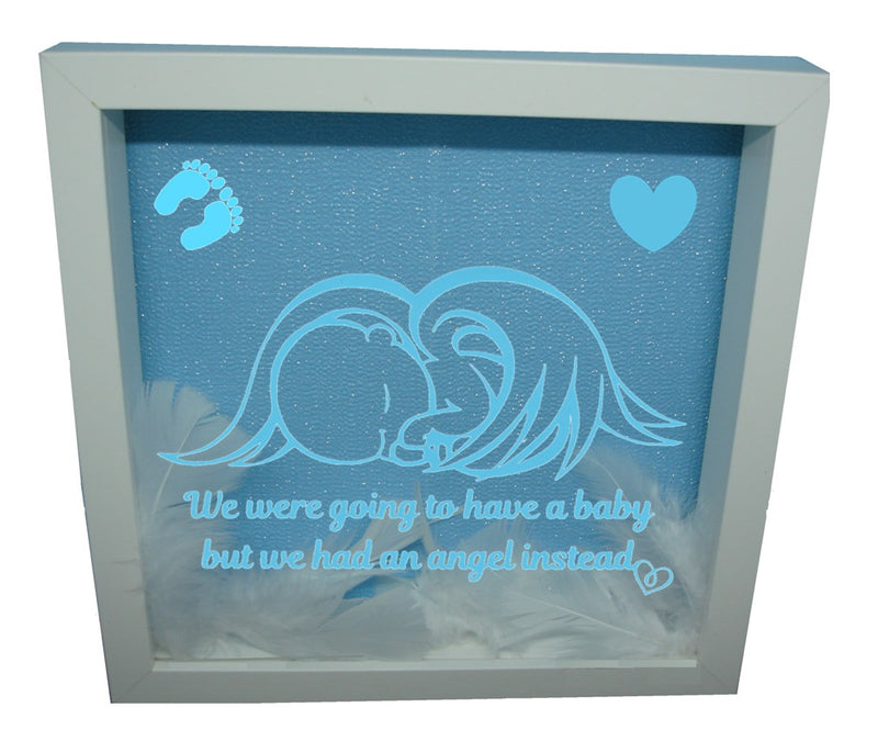 We Were Gonna Have a Baby, But We Had an Angel Instead ( White Frame, Blue backround, Blue Angel )