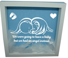 We Were Gonna Have a Baby, But We Had an Angel Instead ( White Frame, Blue backround, WhiteAngel )