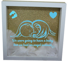 We Were Gonna Have a Baby, But We Had an Angel Instead ( White Frame, Gold backround, Blue Angel )