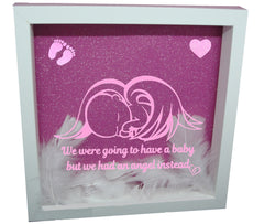 We Were Gonna Have a Baby, But We Had an Angel Instead ( White Frame, Pink backround, Pink Angel )