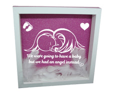 We Were Gonna Have a Baby, But We Had an Angel Instead ( White Frame, Pink backround, White Angel )