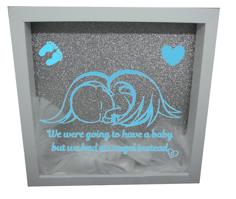 We Were Gonna Have a Baby, But We Had an Angel Instead ( White Frame, Silver backround, Blue Angel )