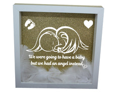 We Were Gonna Have a Baby, But We Had an Angel Instead ( White Frame, Gold backround, White Angel )