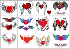 Winged Angel Heart Temporary Tattoos