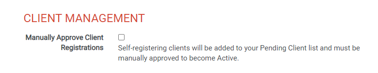 Manually Approve Client Registrations