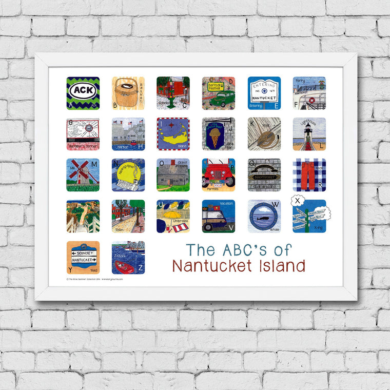 ABC's of Nantucket Island Framed Art Print