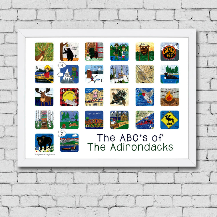 ABC's of the Adirondacks Framed Art Print