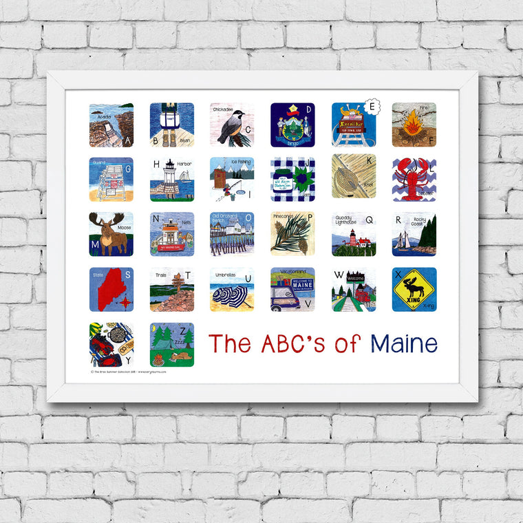 ABC's of Maine Framed Art Print