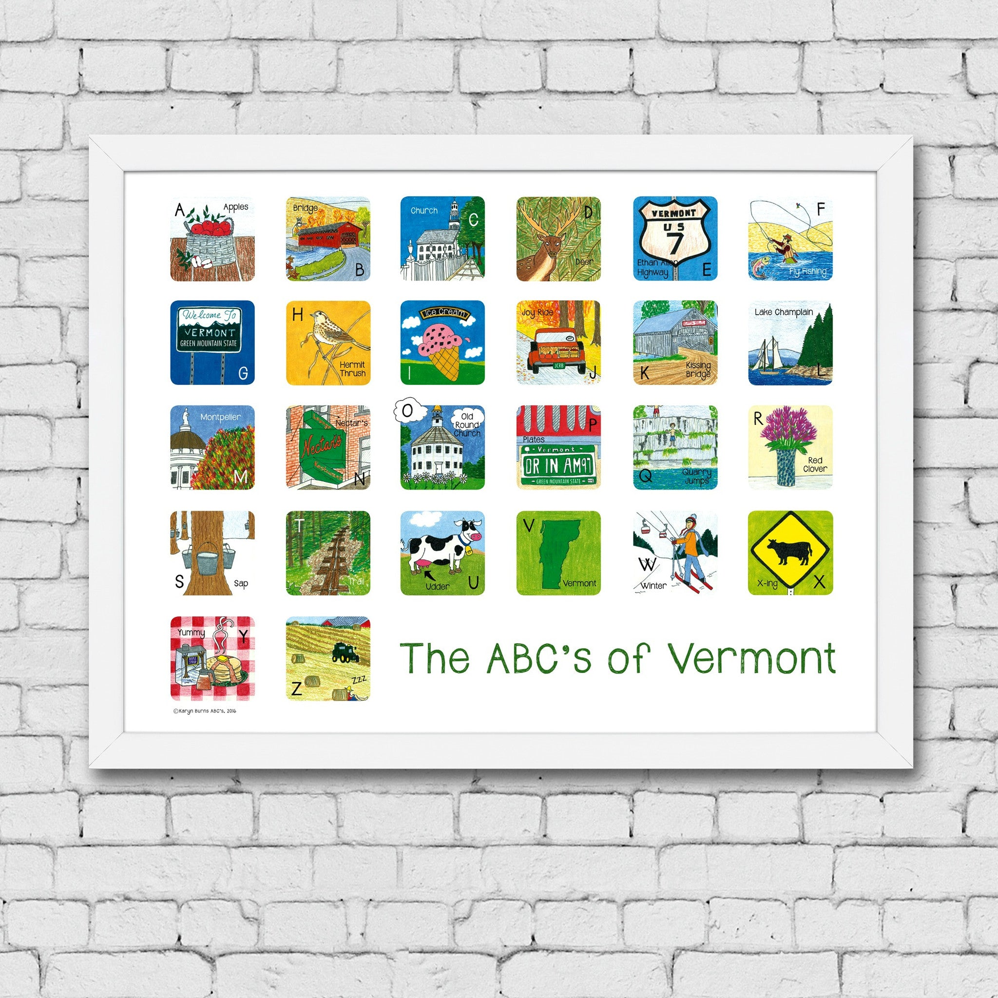 ABC's of Vermont Framed Art Print