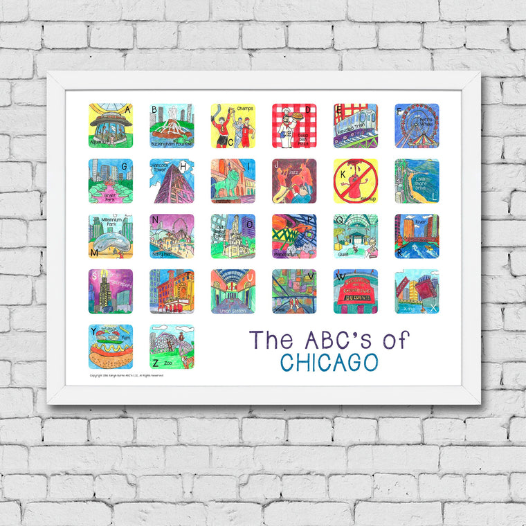 ABC's of Chicago Framed Art Print