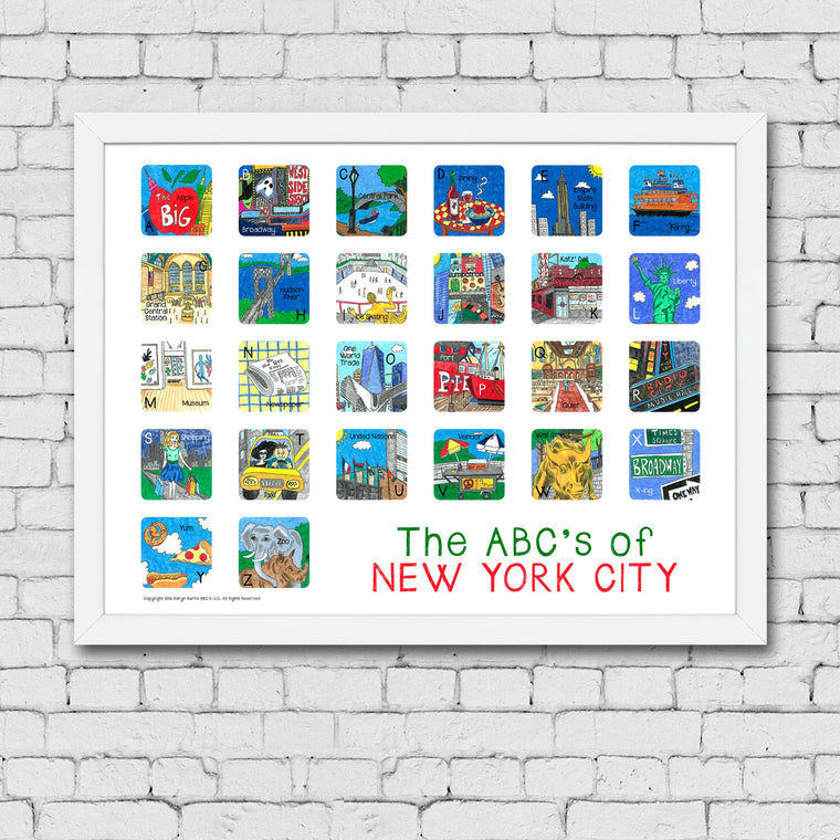 ABC's of New York City Framed Art Print