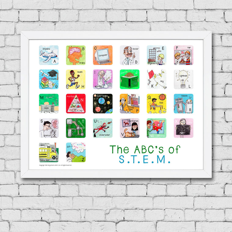 ABC's of S.T.E.M. Framed Art Print