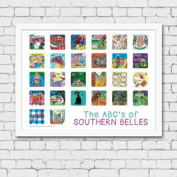 ABC's of Southern Belles Framed Art Print