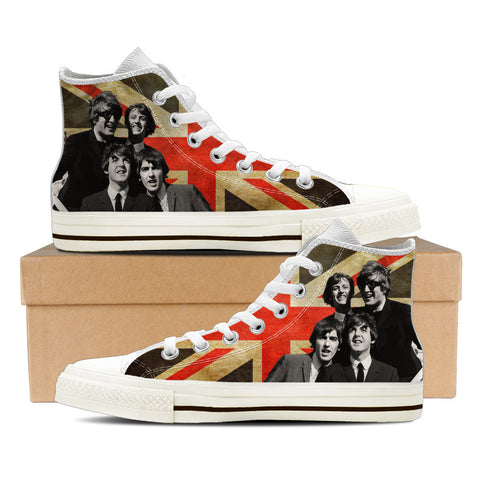 The Beatles Womens High Top Shoes (Wht)
